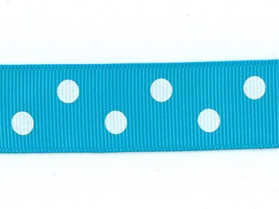 Grosgrain -nauha 22mm polka dot, turkoosi