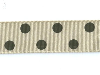 Grosgrain -nauha 22mm polka dot, beige
